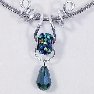 Aluminum Silver Spiral Pendant Blue Green Bead